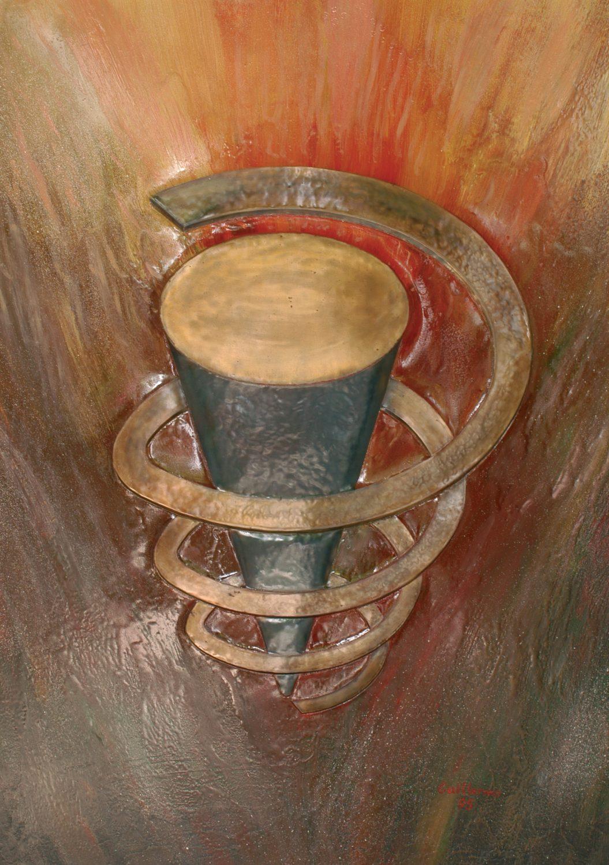 Espiral. Realizado en hierro repujado y acrílicos.